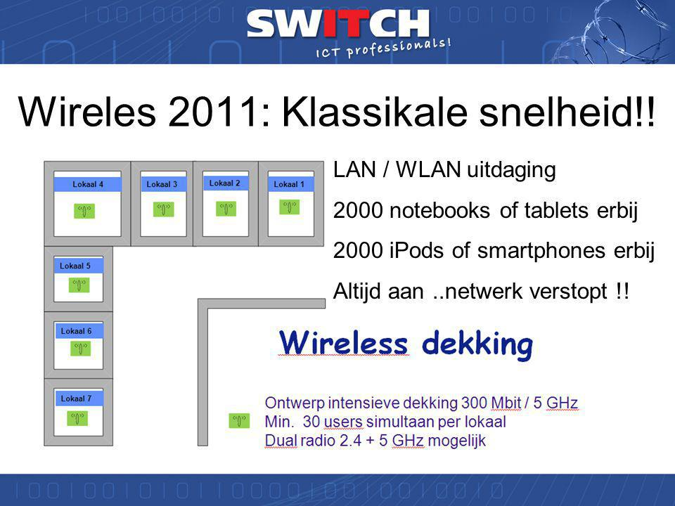 Wireless 2.0 in de school anno 2011 Gebruik AD + Radius + Dynamische VLAN's Local switching !!.