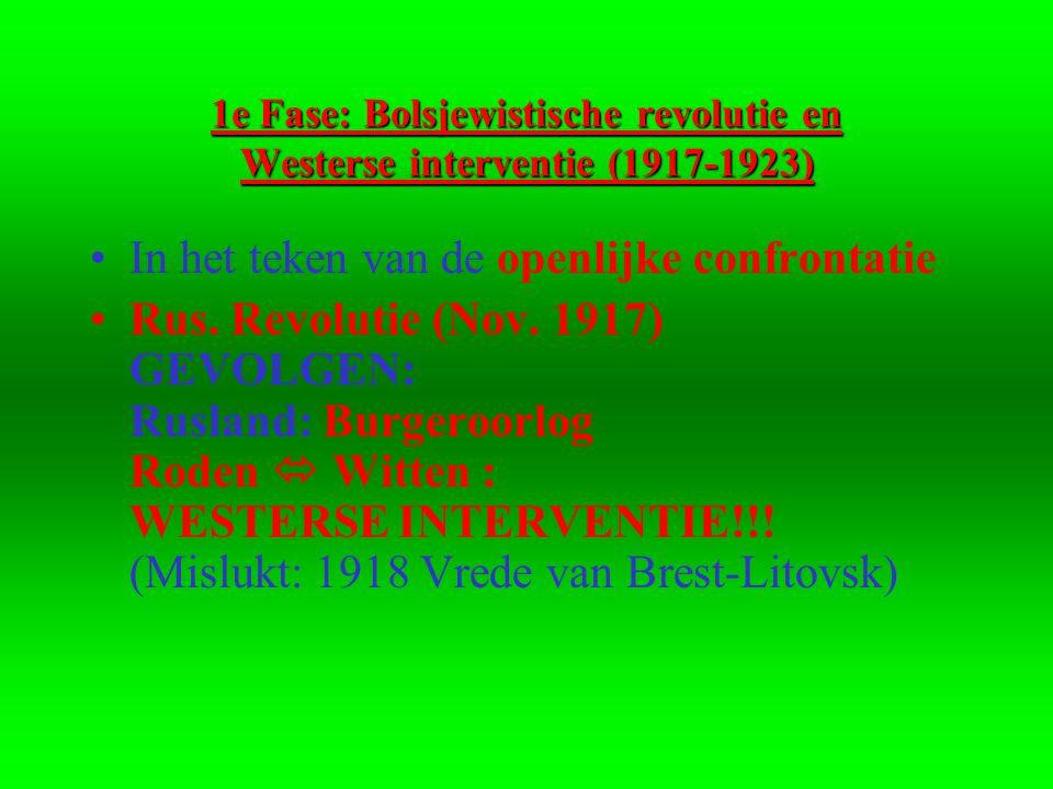 1e Fase: Bolsjewistische revolutie en Westerse interventie (1917-1923) •In het teken van de openlijke confrontatie •Rus.