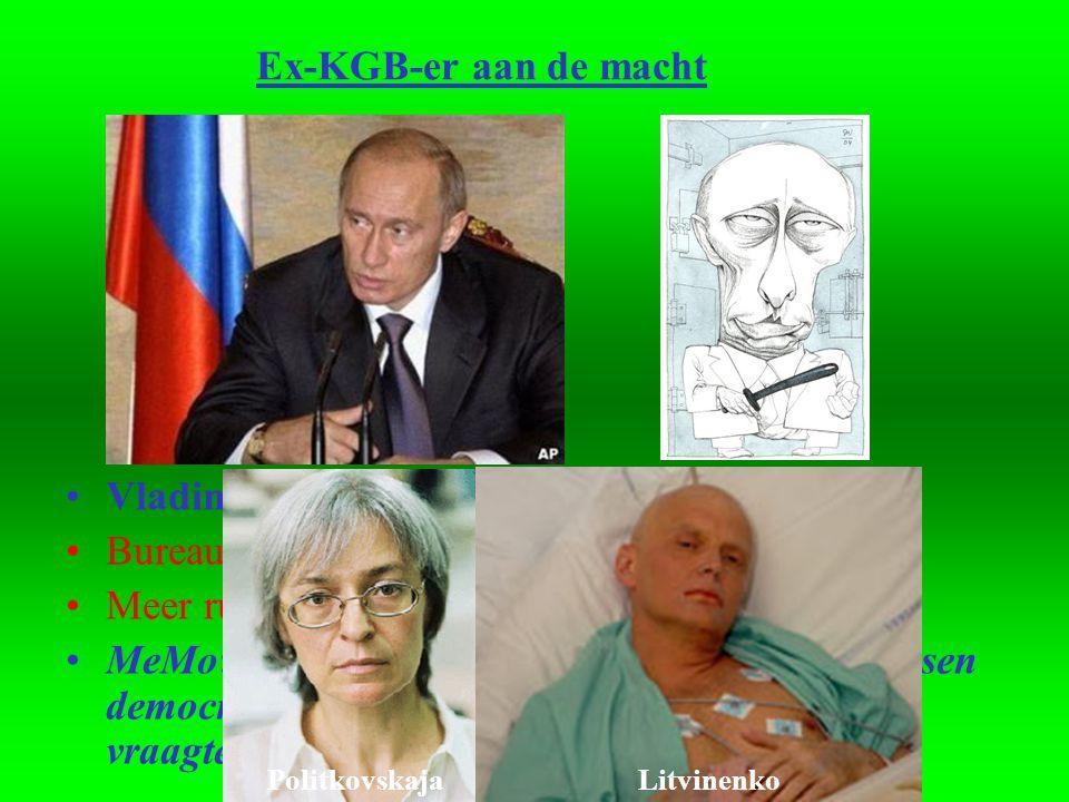 Ex-KGB-er aan de macht •Vladimir Poetin: degrijze kardinaal •Bureaucraat •Meer rust op politiek en economisch terrein (?!) •MeMo: Of Rusland onder Poetin tot een volwassen democratie zal uitgroeien blijft vooralsnog een vraagteken.