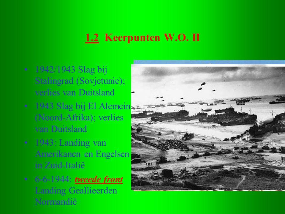 1.2 Keerpunten W.O. II •1942/1943 Slag bij Stalingrad (Sovjetunie); verlies van Duitsland •1943 Slag bij El Alemein (Noord-Afrika); verlies van Duitsl