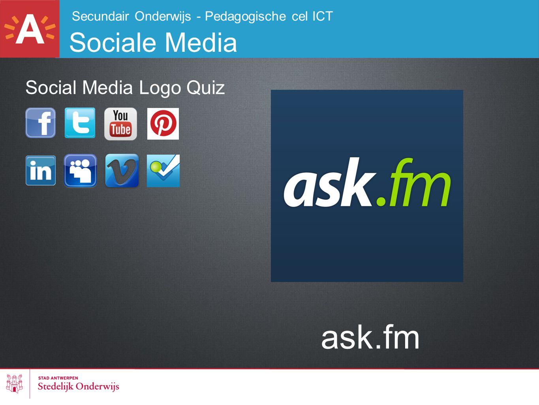 Secundair Onderwijs - Pedagogische cel ICT Sociale Media ask.fm Social Media Logo Quiz