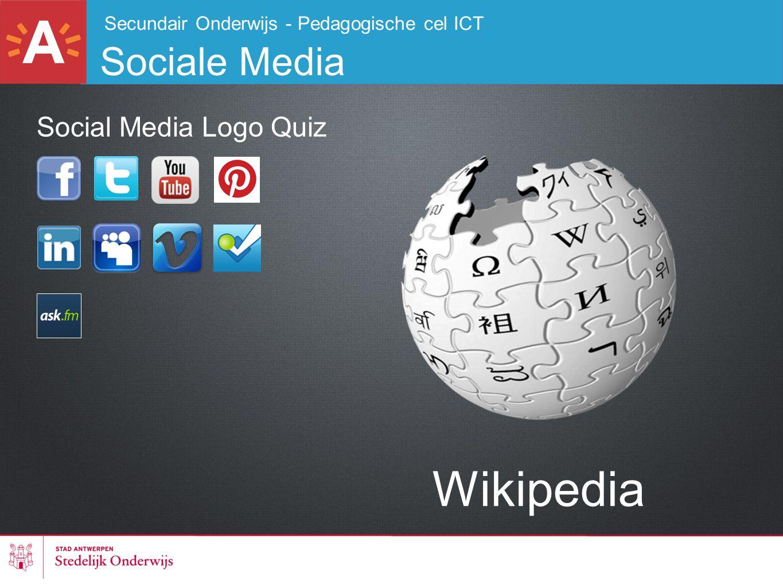 Secundair Onderwijs - Pedagogische cel ICT Sociale Media Wikipedia Social Media Logo Quiz