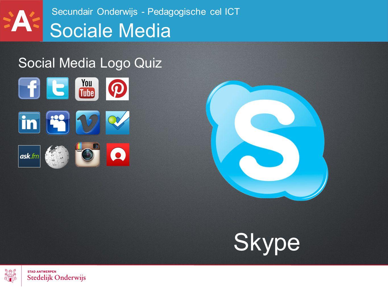 Secundair Onderwijs - Pedagogische cel ICT Sociale Media Skype Social Media Logo Quiz