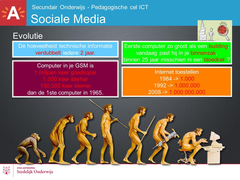 Secundair Onderwijs - Pedagogische cel ICT Sociale Media Evolutie De hoeveelheid technische informatie verdubbelt iedere 2 jaar. Computer in je GSM is