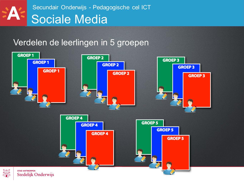 Secundair Onderwijs - Pedagogische cel ICT Sociale Media Verdelen de leerlingen in 5 groepen