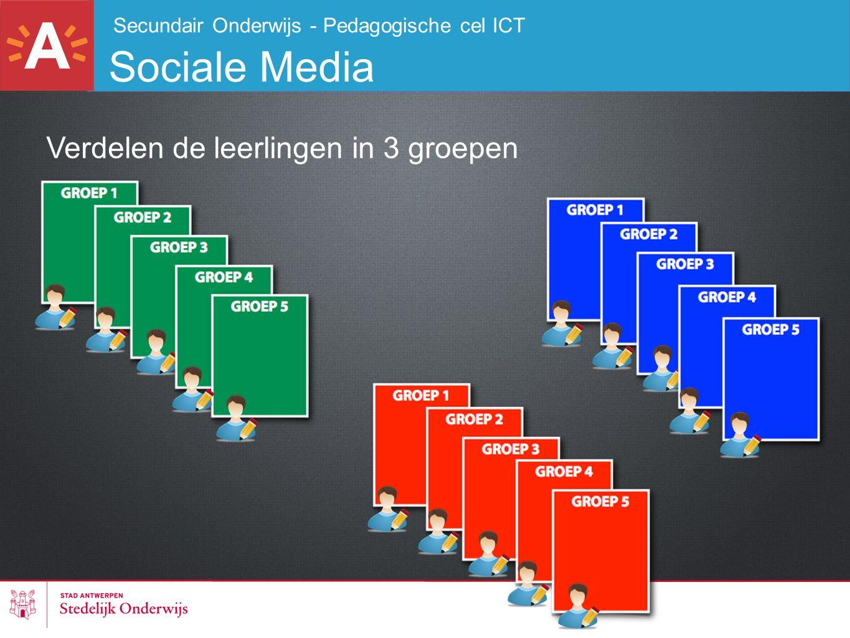 Secundair Onderwijs - Pedagogische cel ICT Sociale Media Verdelen de leerlingen in 3 groepen