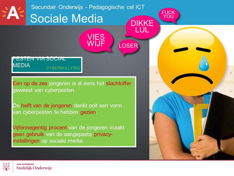 Secundair Onderwijs - Pedagogische cel ICT Sociale Media PESTEN VIA SOCIAL MEDIA Eén op de zes jongeren is al eens het slachtoffer geweest van cyberpe