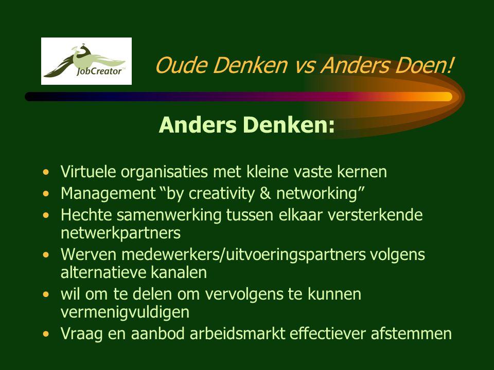 """Oude Denken versus Anders Doen Oude Denken: •Fysieke organisaties met vast personeel •Management """"by hope"""" of management """"by fear"""" •Werken binnen trad"""