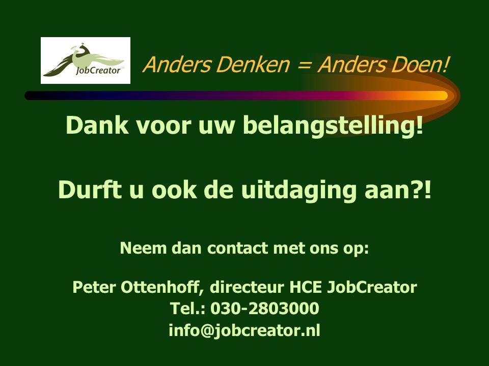 Anders Denken = Anders Doen! JobCreator International: •Europees project Leonardo da Vinci fondsen •Transfer of Innovation HCE JobCreatorconcept •Impl