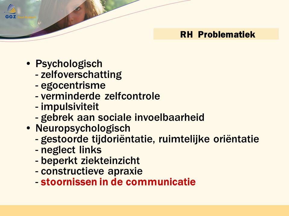 Contactnetwerk bijeenkomst 22 april 2010 GGZ Oost BrabantContactnetwerkbijeenkomst 22 april 2010 GGZ Oost Brabant RH Problematiek •Psychologisch - zel