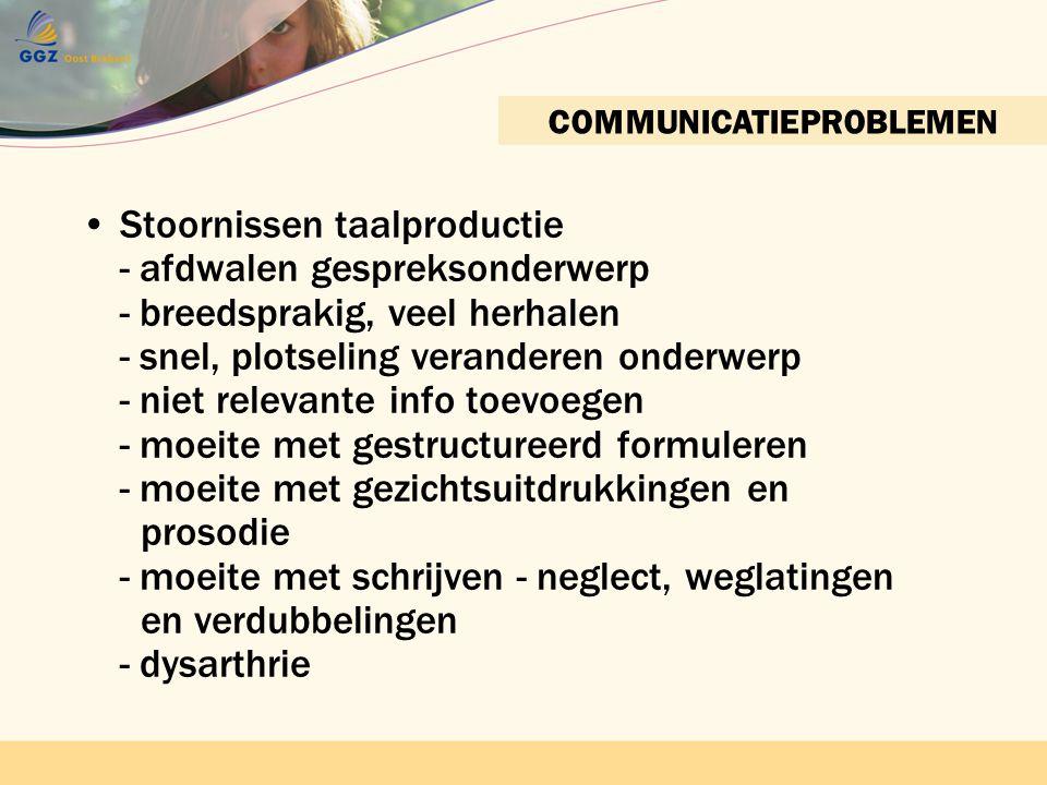 Contactnetwerk bijeenkomst 22 april 2010 GGZ Oost BrabantContactnetwerkbijeenkomst 22 april 2010 GGZ Oost Brabant COMMUNICATIEPROBLEMEN •Stoornissen t