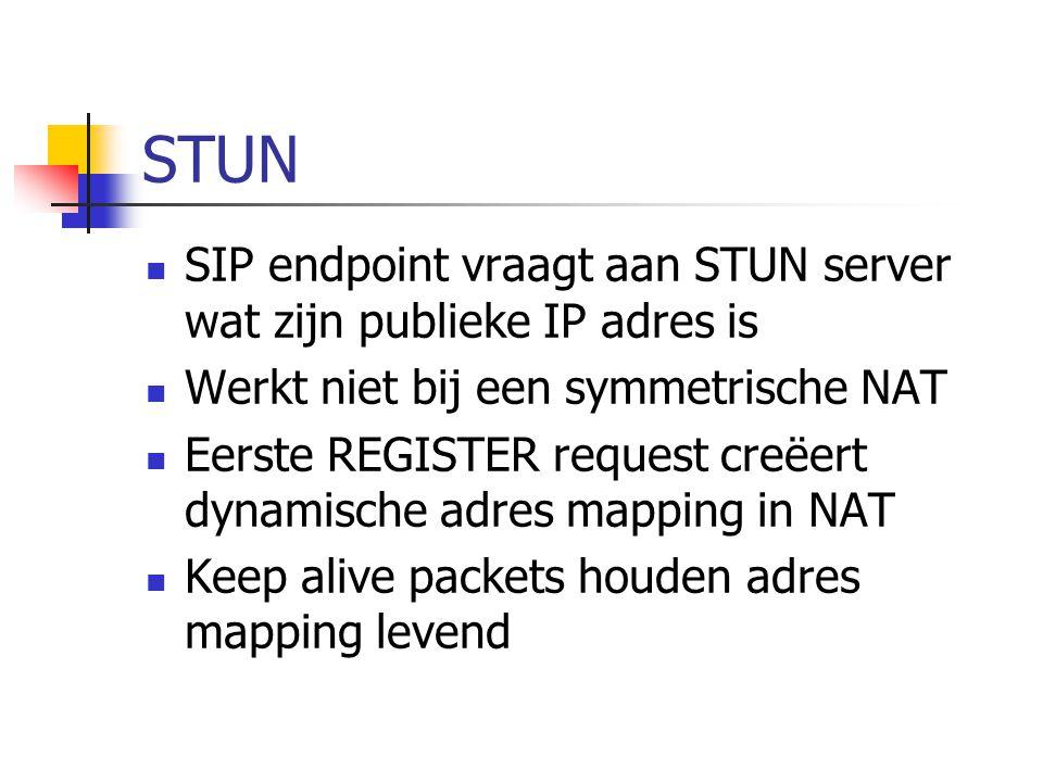 Oplossingen voor NAT probleem  Handmatige configuratie publiek IP adres in SIP endpoint  Gebruiker moet statische adres mapping in router maken  STUN protocol  Simple Traversal of UDP through NAT  Makkelijker voor de gebruiker  Niet 100% fool proof