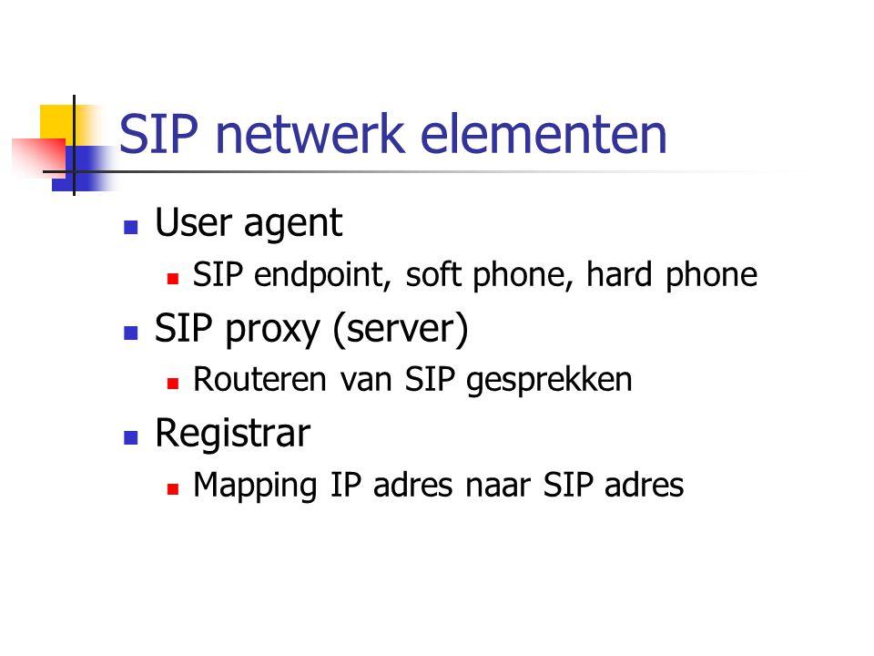 Voorbeeld SIP gesprek INVITE sip:michel@10.0.0.1 180 Ringing 200 OK Speech (RTP) BYE 200 OK ACK