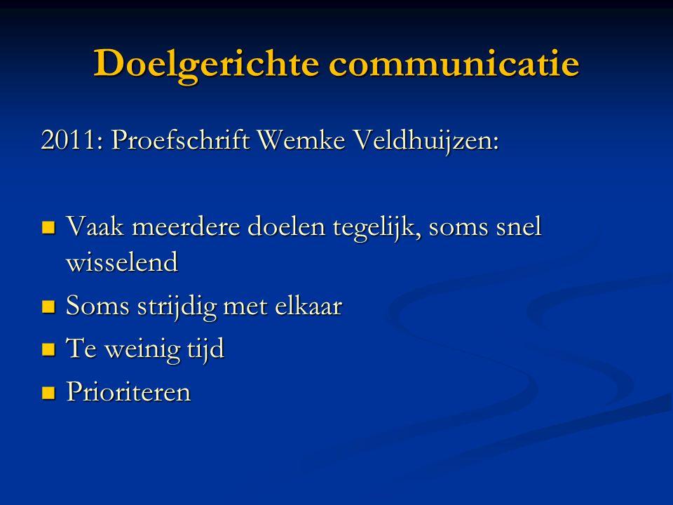 Doelgerichte communicatie 2011: Proefschrift Wemke Veldhuijzen:  Vaak meerdere doelen tegelijk, soms snel wisselend  Soms strijdig met elkaar  Te w