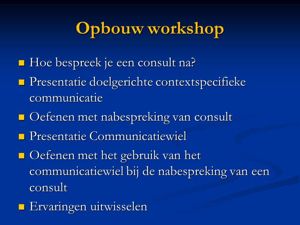 Opbouw workshop  Hoe bespreek je een consult na?  Presentatie doelgerichte contextspecifieke communicatie  Oefenen met nabespreking van consult  P