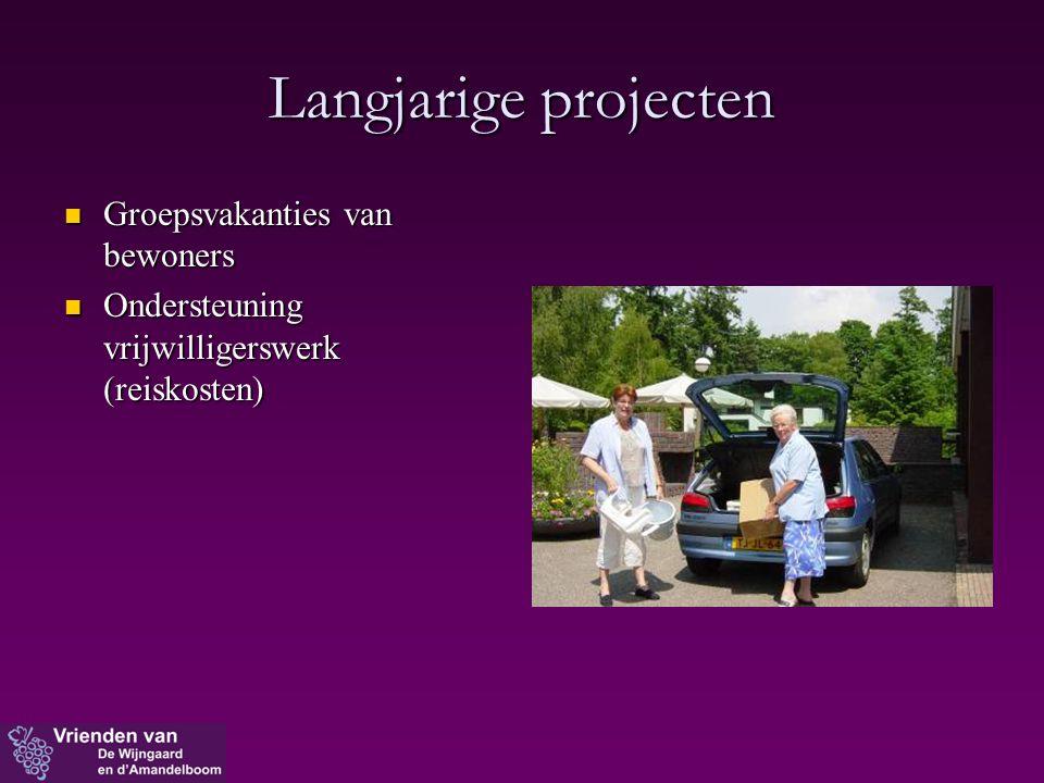 Langjarige projecten  Groepsvakanties van bewoners  Ondersteuning vrijwilligerswerk (reiskosten)