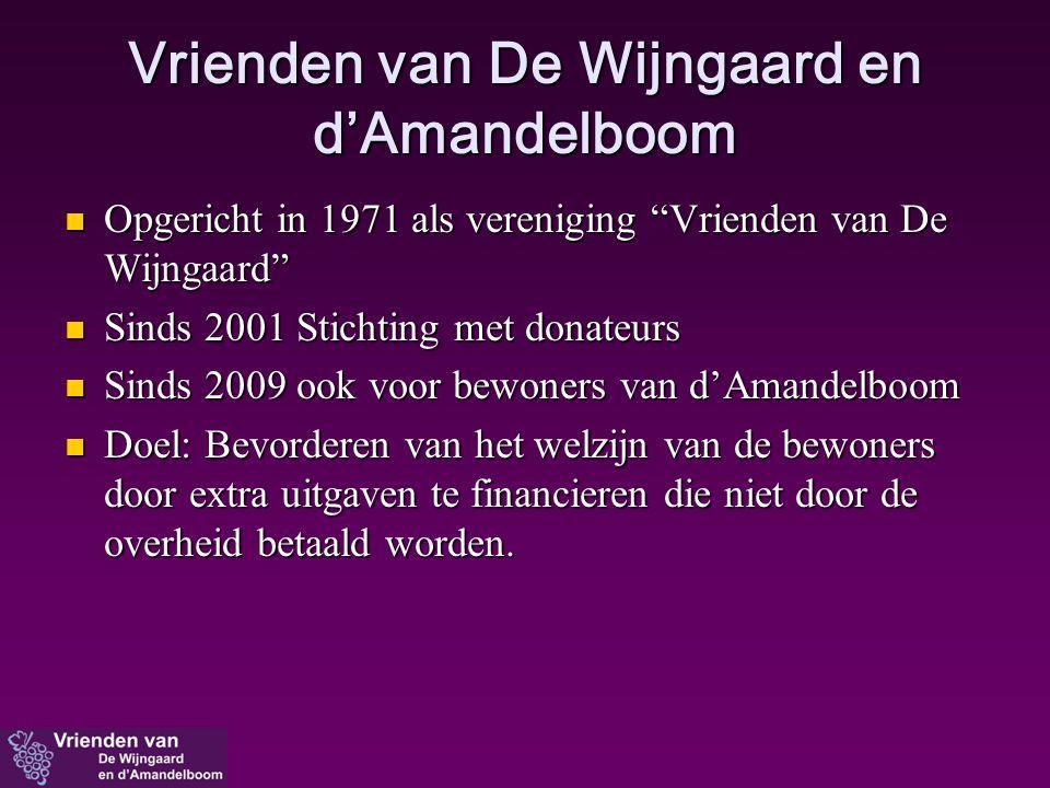"""Vrienden van De Wijngaard en d'Amandelboom  Opgericht in 1971 als vereniging """"Vrienden van De Wijngaard""""  Sinds 2001 Stichting met donateurs  Sinds"""