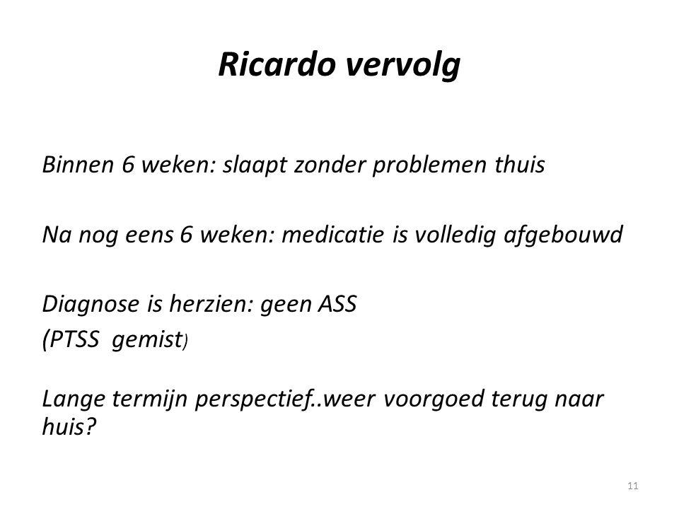 11 Ricardo vervolg Binnen 6 weken: slaapt zonder problemen thuis Na nog eens 6 weken: medicatie is volledig afgebouwd Diagnose is herzien: geen ASS (P
