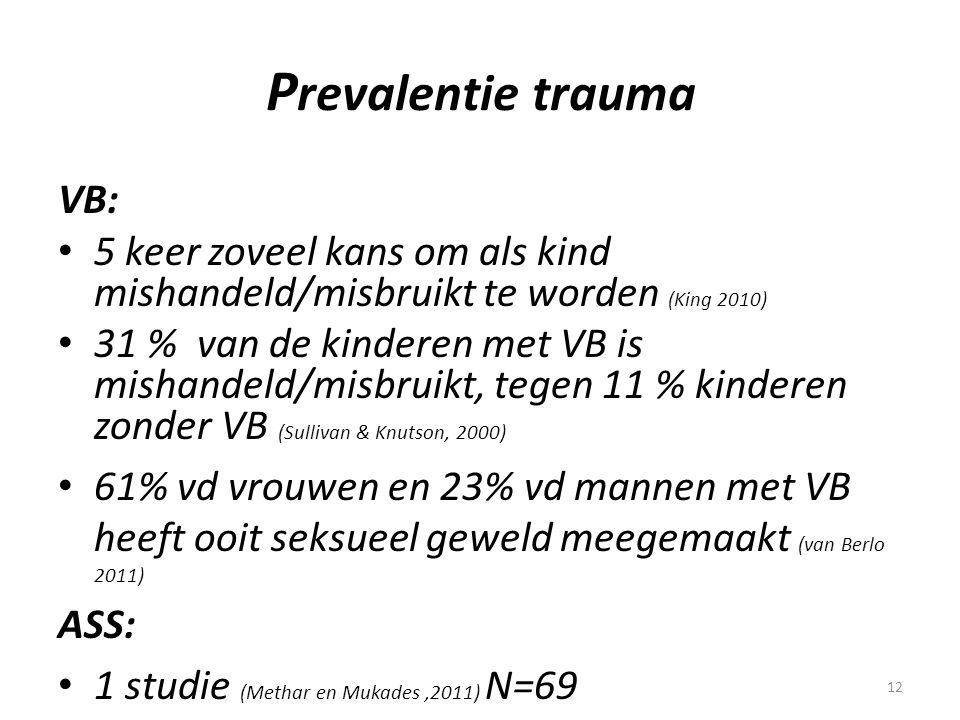12 P revalentie trauma VB: • 5 keer zoveel kans om als kind mishandeld/misbruikt te worden (King 2010) • 31 % van de kinderen met VB is mishandeld/mis