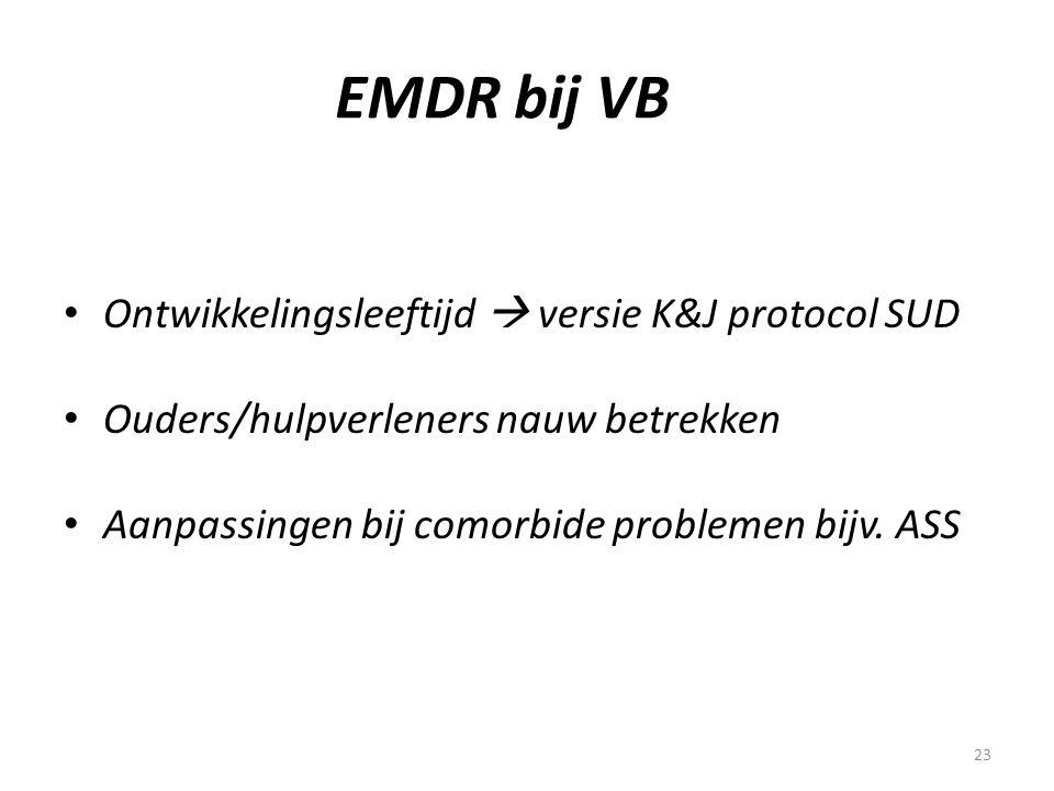 23 EMDR bij VB • Ontwikkelingsleeftijd  versie K&J protocol SUD • Ouders/hulpverleners nauw betrekken • Aanpassingen bij comorbide problemen bijv. AS