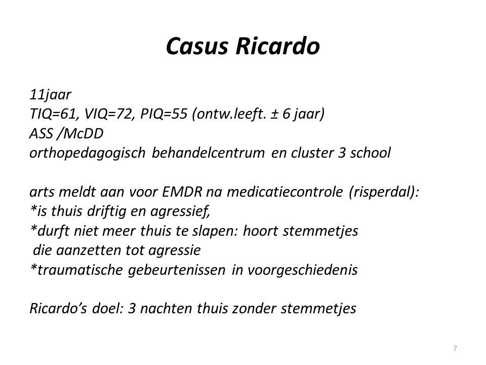 7 Casus Ricardo 11jaar TIQ=61, VIQ=72, PIQ=55 (ontw.leeft. ± 6 jaar) ASS /McDD orthopedagogisch behandelcentrum en cluster 3 school arts meldt aan voo
