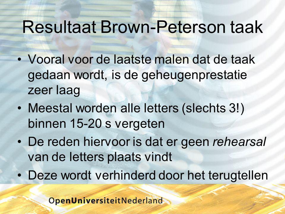 Resultaat Brown-Peterson taak •Vooral voor de laatste malen dat de taak gedaan wordt, is de geheugenprestatie zeer laag •Meestal worden alle letters (