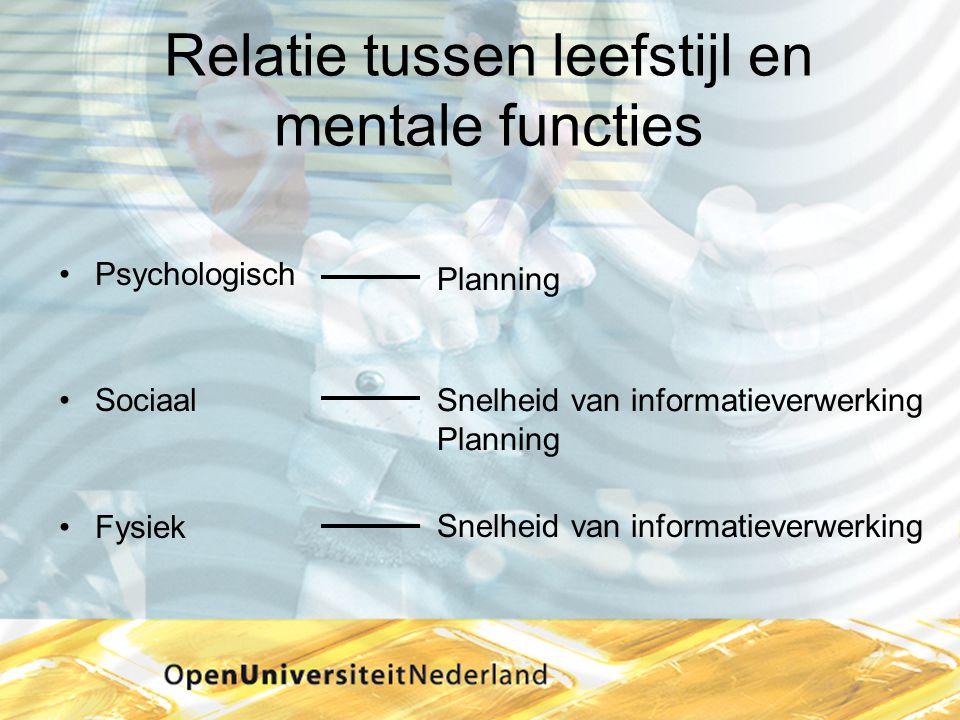 Relatie tussen leefstijl en mentale functies •Psychologisch •Sociaal •Fysiek Snelheid van informatieverwerking Planning