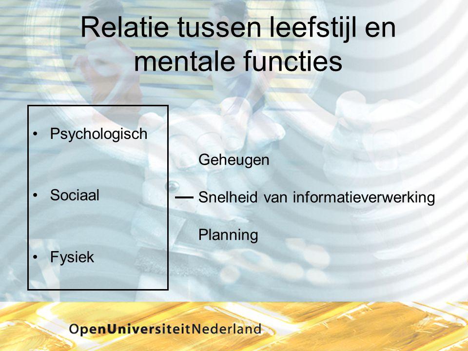 Relatie tussen leefstijl en mentale functies •Psychologisch •Sociaal •Fysiek Geheugen Snelheid van informatieverwerking Planning
