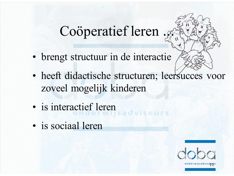 9 Coöperatief werken: Rondpraat 1.Docent geeft opdracht De leerkracht geeft een opdracht of stelt een vraag waarop meerdere tamelijk korte antwoorden mogelijk zijn.