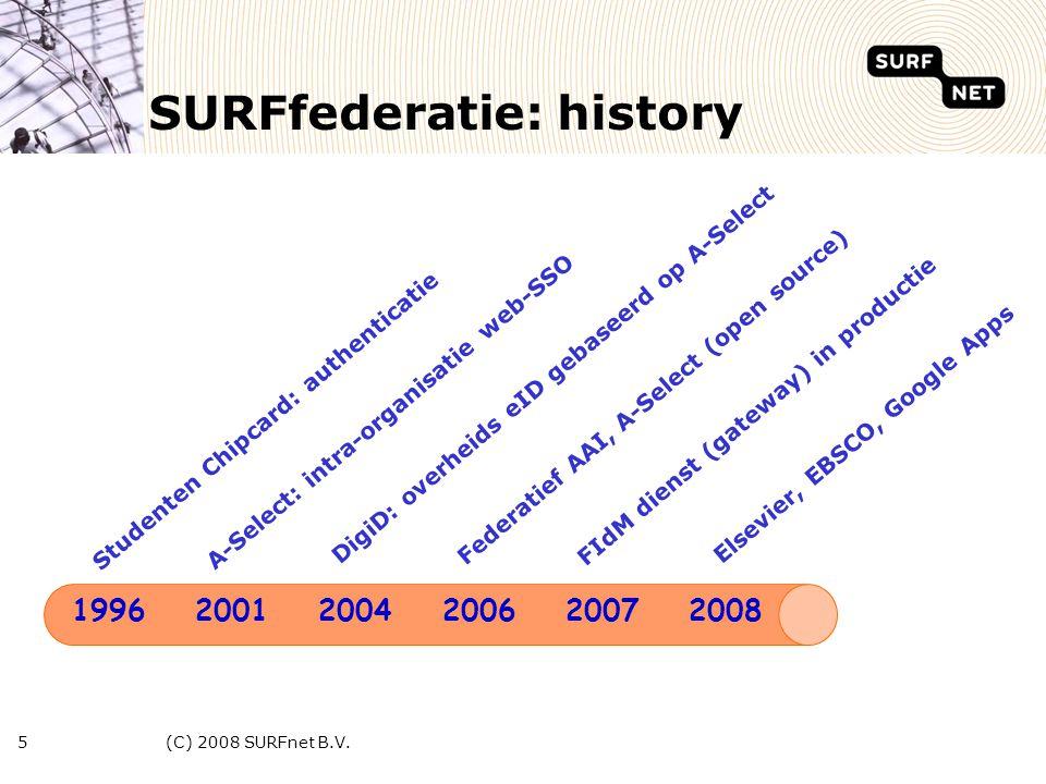 (C) 2008 SURFnet B.V.16 Diensten -SURFspot (SURFdiensten), ICT webwinkel -Dashboard/Rapportage/Demo (SURFnet) -ScienceDirect (Elsevier), wetenschappelijke artikelen -EBSCOhost (EBSCO), research database -EduPoort (EduPoort), educatieve content -PiCarta (OCLC Leiden), informatie/catalogi -Ellips (member RUG), oefenomgeving taalvaardigheid -ZOEP (RUG), video zoek engine -SURFmedia (SURFnet), video integratie project -Google Apps for Education (Google), web apps) -SURFconext