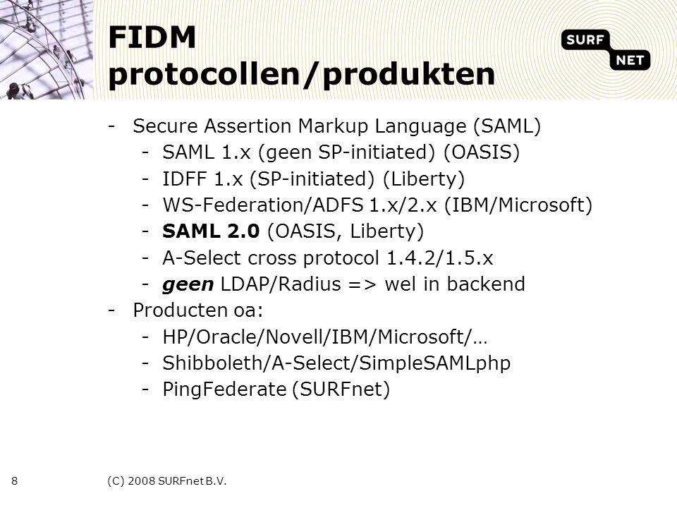 (C) 2008 SURFnet B.V.9 Federatie Modellen -1-1 -Business VS: SAML 1.x -de-facto -NxN -Shared trust, pt2pt -Education VS/Europa -Shibboleth -2xN -Centrale gateway (CFC) -Nieuw(?) paradigma protocol translatie -SURFfederatie SURFnet = CFC, IDP, SP IDPSP IDPSP IDPSP IDPSP IDPSP IDPSP IDPSP CFC