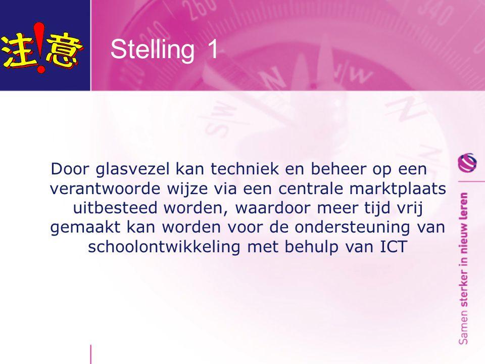 Stelling 1 Door glasvezel kan techniek en beheer op een verantwoorde wijze via een centrale marktplaats uitbesteed worden, waardoor meer tijd vrij gemaakt kan worden voor de ondersteuning van schoolontwikkeling met behulp van ICT