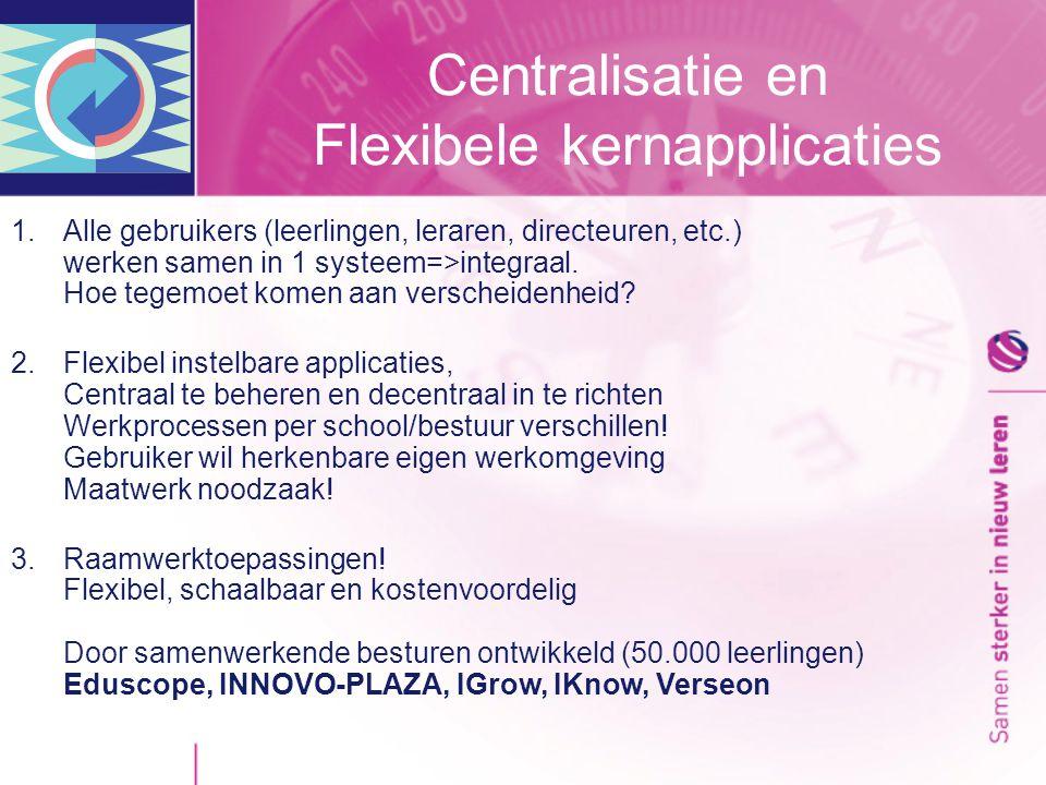 Centralisatie en Flexibele kernapplicaties 1.Alle gebruikers (leerlingen, leraren, directeuren, etc.) werken samen in 1 systeem=>integraal.