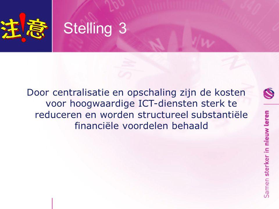 Stelling 3 Door centralisatie en opschaling zijn de kosten voor hoogwaardige ICT-diensten sterk te reduceren en worden structureel substantiële financiële voordelen behaald