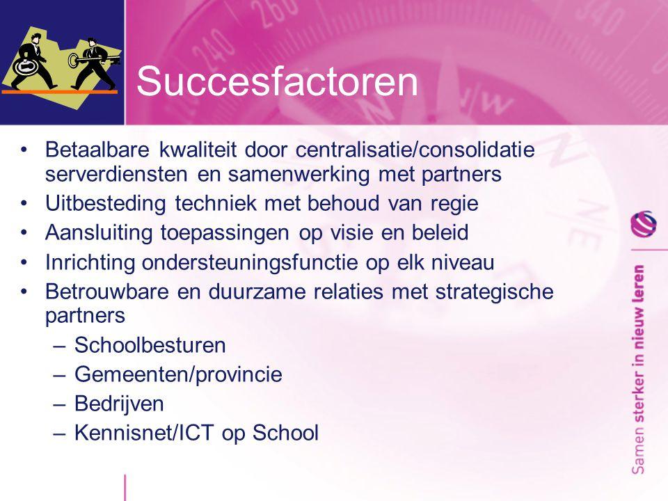 •Betaalbare kwaliteit door centralisatie/consolidatie serverdiensten en samenwerking met partners •Uitbesteding techniek met behoud van regie •Aansluiting toepassingen op visie en beleid •Inrichting ondersteuningsfunctie op elk niveau •Betrouwbare en duurzame relaties met strategische partners –Schoolbesturen –Gemeenten/provincie –Bedrijven –Kennisnet/ICT op School Succesfactoren