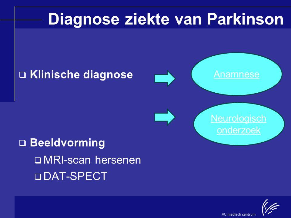 Diagnose ziekte van Parkinson  Klinische diagnose  Beeldvorming  MRI-scan hersenen  DAT-SPECT Anamnese Neurologisch onderzoek