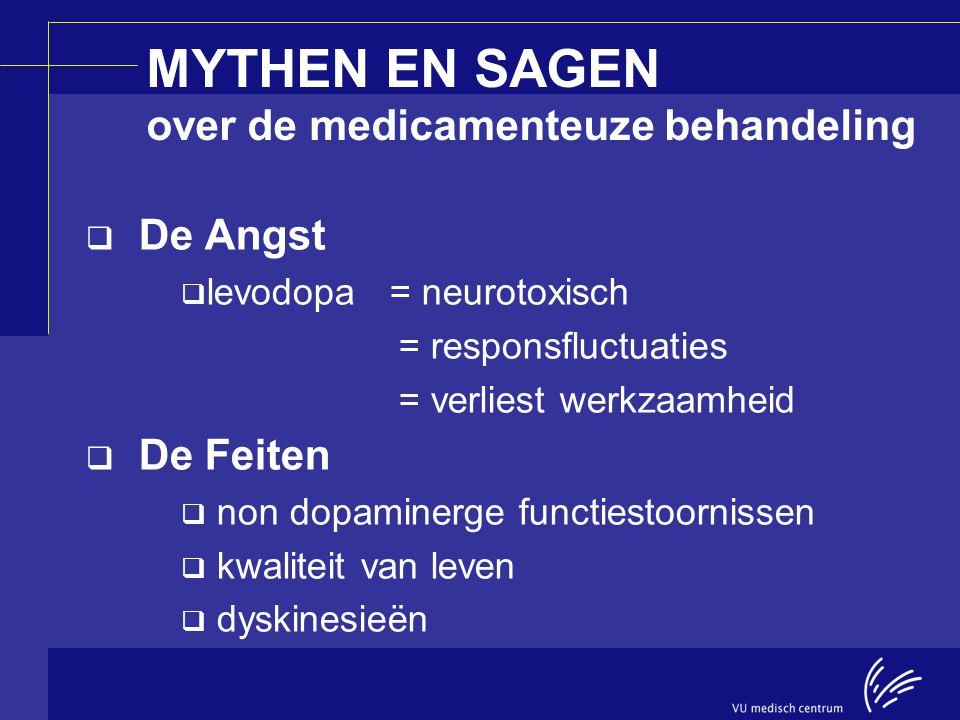 MYTHEN EN SAGEN over de medicamenteuze behandeling  De Angst  levodopa = neurotoxisch = responsfluctuaties = verliest werkzaamheid  De Feiten  non