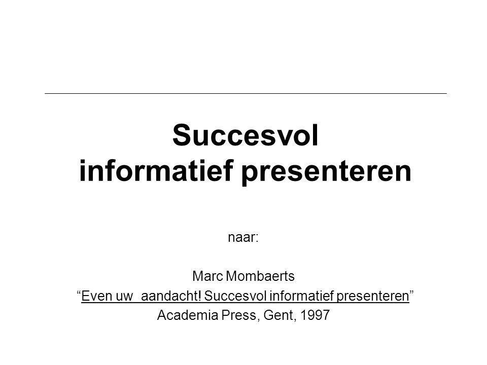 """Succesvol informatief presenteren naar: Marc Mombaerts """"Even uw aandacht! Succesvol informatief presenteren"""" Academia Press, Gent, 1997"""