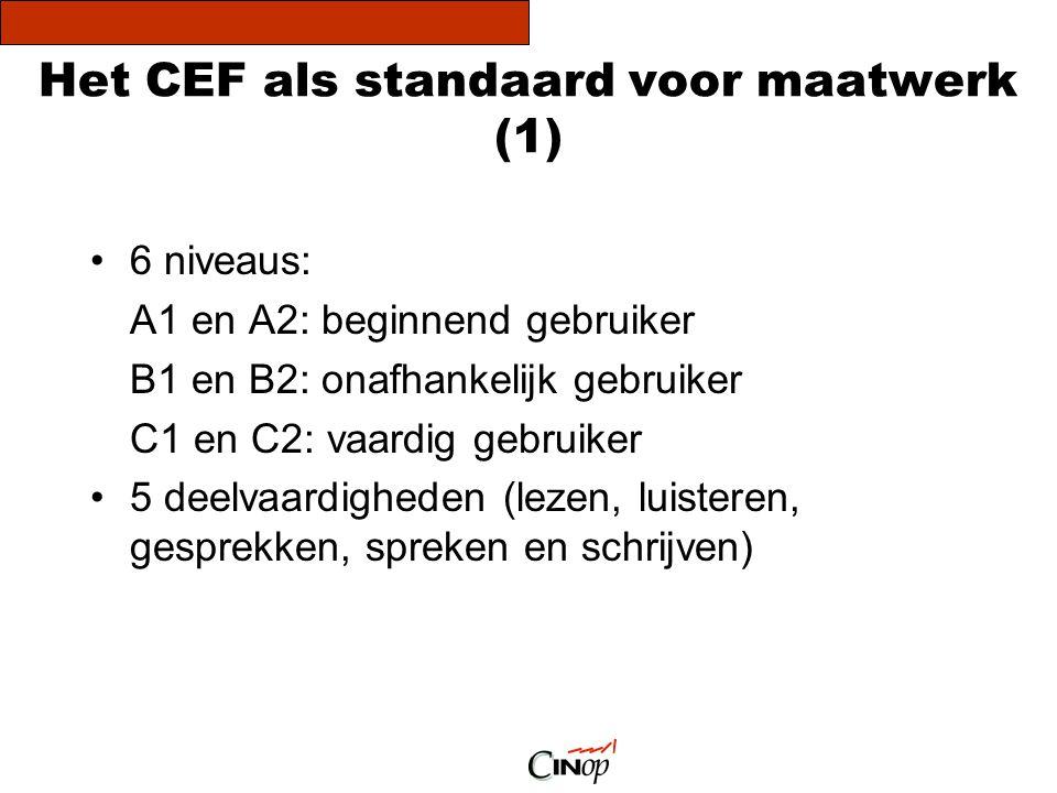 Het CEF als standaard voor maatwerk (1) •6 niveaus: A1 en A2: beginnend gebruiker B1 en B2: onafhankelijk gebruiker C1 en C2: vaardig gebruiker •5 dee