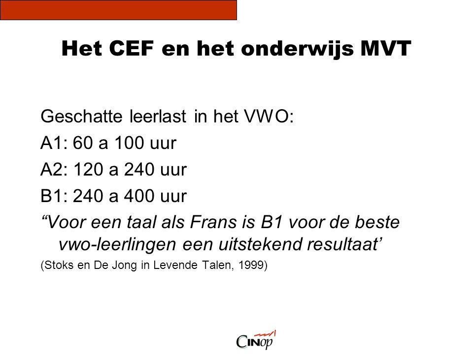 """Het CEF en het onderwijs MVT Geschatte leerlast in het VWO: A1: 60 a 100 uur A2: 120 a 240 uur B1: 240 a 400 uur """"Voor een taal als Frans is B1 voor d"""