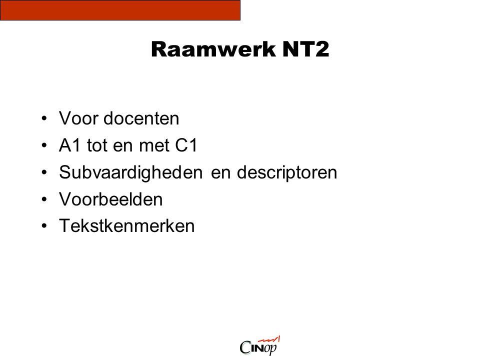 Raamwerk NT2 •Voor docenten •A1 tot en met C1 •Subvaardigheden en descriptoren •Voorbeelden •Tekstkenmerken