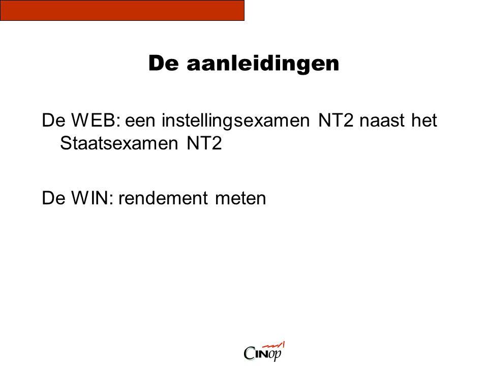 De aanleidingen De WEB: een instellingsexamen NT2 naast het Staatsexamen NT2 De WIN: rendement meten