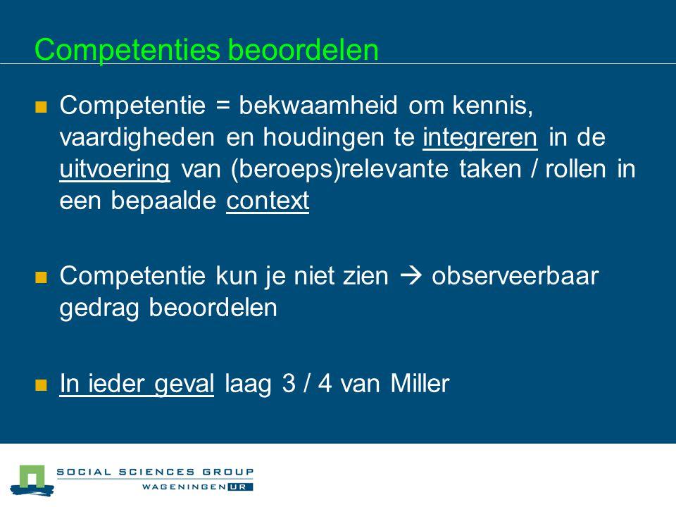 Competenties beoordelen  Competentie = bekwaamheid om kennis, vaardigheden en houdingen te integreren in de uitvoering van (beroeps)relevante taken /