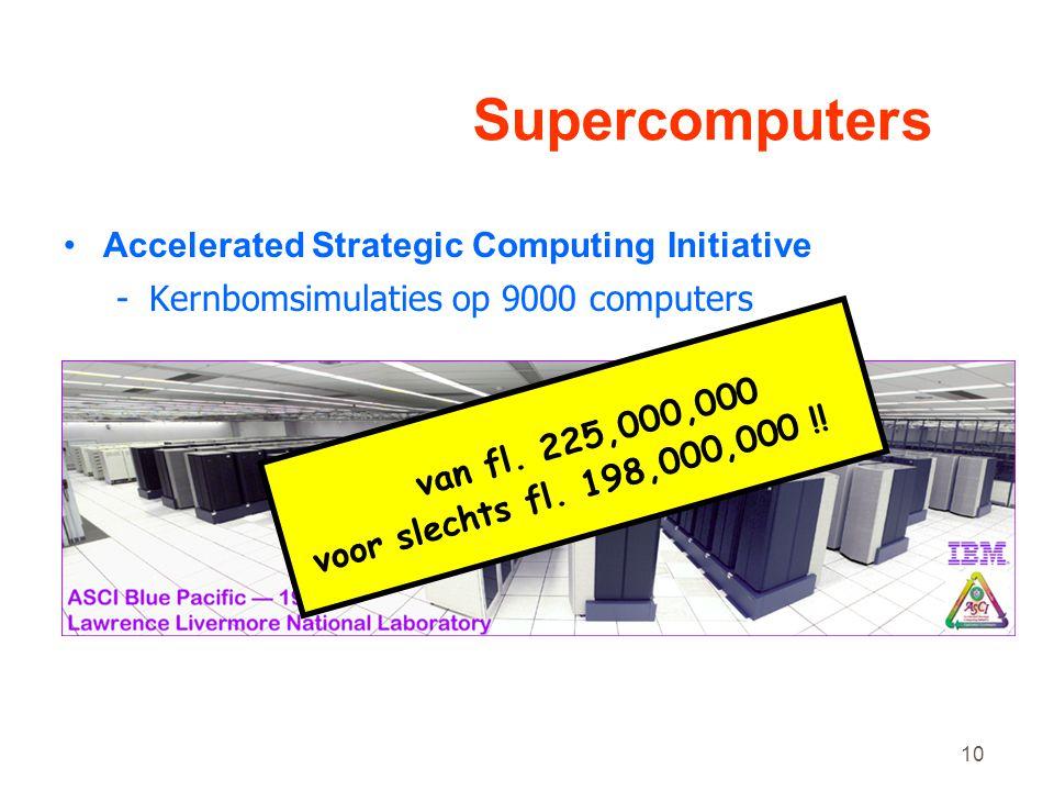 10 Supercomputers •Accelerated Strategic Computing Initiative -Kernbomsimulaties op 9000 computers van fl.