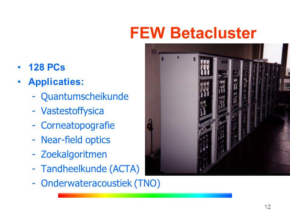 12 FEW Betacluster •128 PCs •Applicaties: -Quantumscheikunde -Vastestoffysica -Corneatopografie -Near-field optics -Zoekalgoritmen -Tandheelkunde (ACTA) -Onderwateracoustiek (TNO)