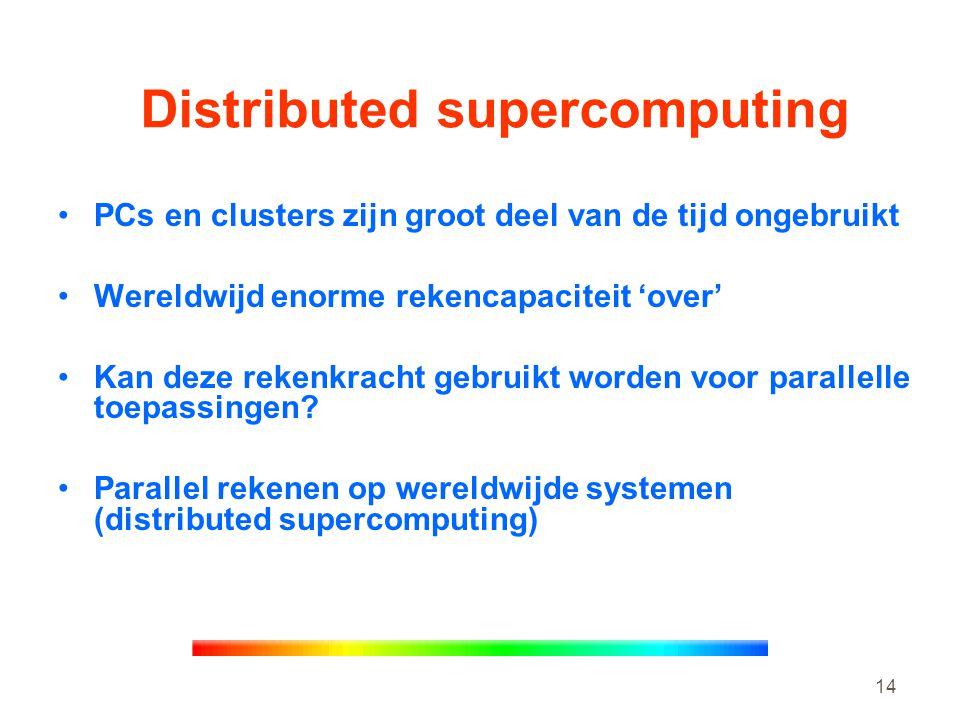 14 Distributed supercomputing •PCs en clusters zijn groot deel van de tijd ongebruikt •Wereldwijd enorme rekencapaciteit 'over' •Kan deze rekenkracht gebruikt worden voor parallelle toepassingen.