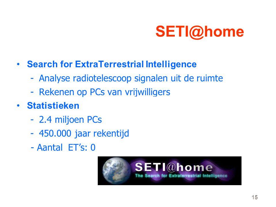15 SETI@home •Search for ExtraTerrestrial Intelligence -Analyse radiotelescoop signalen uit de ruimte -Rekenen op PCs van vrijwilligers •Statistieken -2.4 miljoen PCs -450.000 jaar rekentijd - Aantal ET's: 0