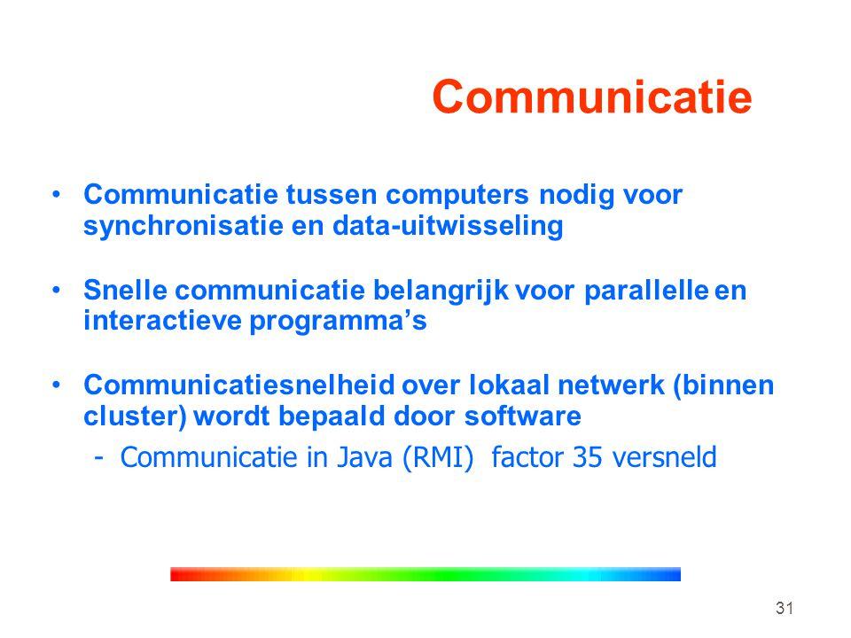 31 Communicatie •Communicatie tussen computers nodig voor synchronisatie en data-uitwisseling •Snelle communicatie belangrijk voor parallelle en interactieve programma's •Communicatiesnelheid over lokaal netwerk (binnen cluster) wordt bepaald door software -Communicatie in Java (RMI) factor 35 versneld