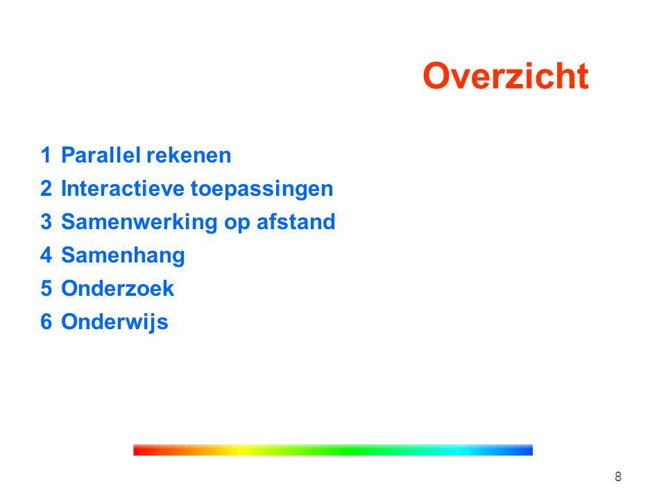 8 Overzicht 1Parallel rekenen 2Interactieve toepassingen 3Samenwerking op afstand 4Samenhang 5Onderzoek 6Onderwijs