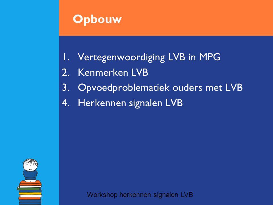Vertegenwoordiging LVB in MPG •Oververtegenwoordiging LVB: Bij 1/3 MPG gezinnen sprake van LVB •Prevalentie LVB 1-3 % van de totale bevolking; jongeren met LVB 13,6 % van totaal aantal jongeren.
